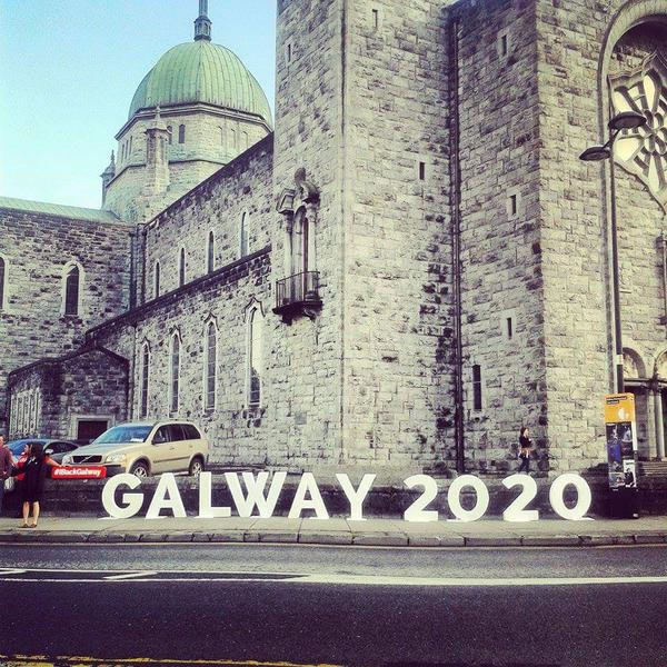 Galway Cathedral with Galway 2020 sign